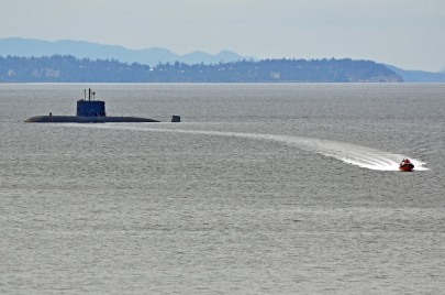 HMSC Victoria just offshore of Powell River, 1 May 2013. Here the Coast Guard is evacuating one of the crew, who needed medical care.