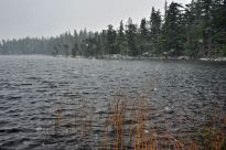 By the time we reached Bob's Lake it had begun to snow...
