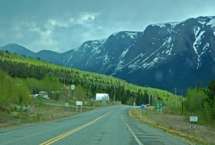on the Alaska highway heading south