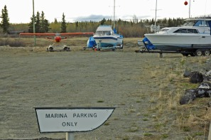 Parking lot in typical northern style.