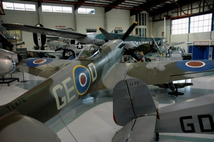 The immaculate Spitfire XVIe TE476 at Fantasy of Flight. This example is unusual in the thoroughness of its restoration, complete with WWII issue instruments, radios and guns.
