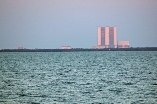 The truly impressive Vehicle Assembly Building (VAB) at Cape Kennedy. Once the largest building in the world by volume, it apparently now ranks fifth or sixth.