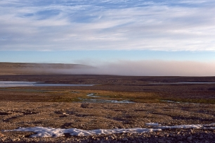Fog rolling in over the sewage lagoon, Resolute, NWT, 1979