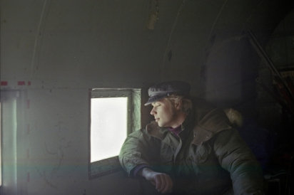 Yours truly in the back of a DC-3, on the way to Mould Bay, NWT.