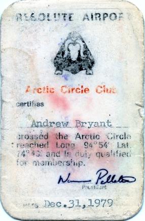 Arctic Circle Club membership card, 1979