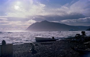 Fishing boat and dog, Grise Fiord, NWT, 1979