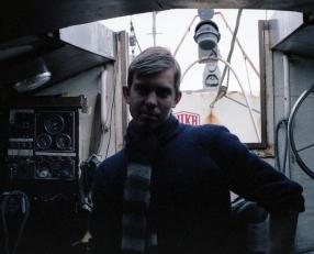 Tómas Tómasson aboard the Solaris, Resolute, NWT, 1979.